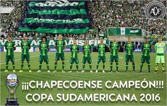 La Conmebol proclamo al Chapecoense campeon de la Copa Sudamericana 2016